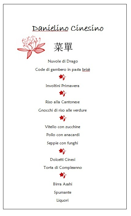 Festa cinese menu appunti di matrimonio for Menu cinese