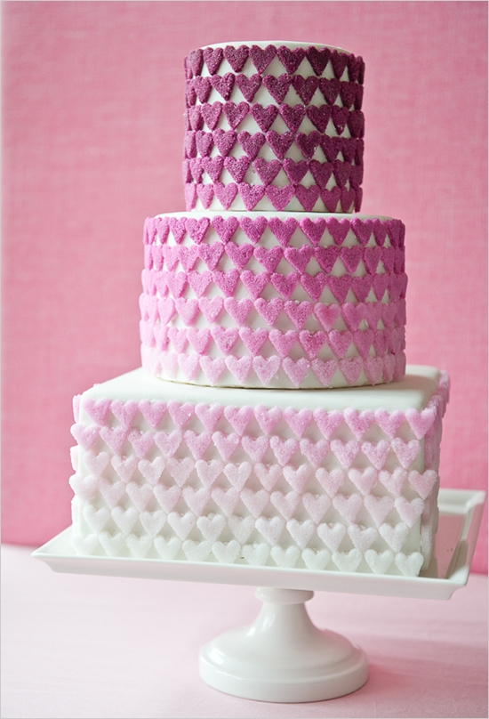 pink ombre hearts cake